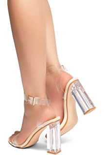 4fc028b9e2b8 Herstyle Women s Cllaary Perpex Heel Ankle Strap Adjustable Buckle Lucite  Clear Block Chunky High Heel Open