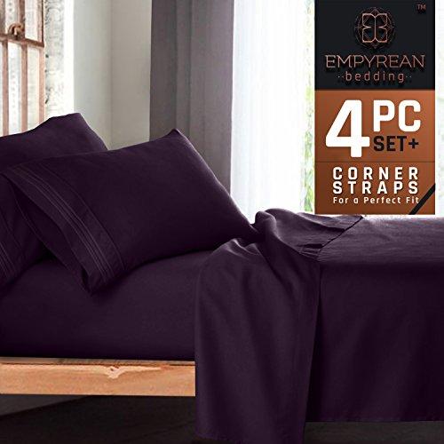 Premium 4-Piece Bed Sheet & Pillow Case Set – Luxurious & Soft Twin XL (Single) Size Linen, Extra Deep Pocket Super Fit Fitted Purple Eggplant (Essentials 4 Piece Kit)