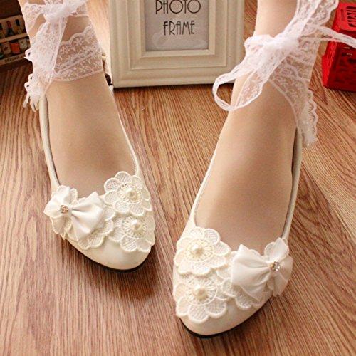 TongBao-hx Zapatos de la boda de las mujeres / resorte y verano / dama de honor y la novia / las etiquetas hechas a mano / la pulsera para el tobillo / el banquete y el vestido de partido / modifican la altura del talón / el bowknot blanco