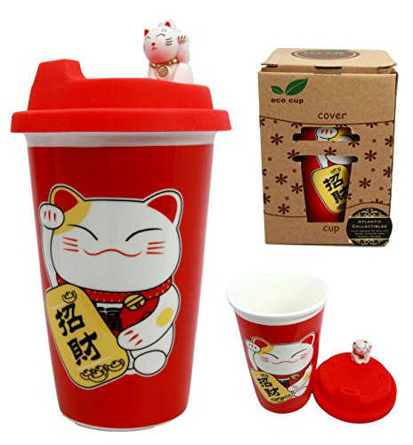 Atlantic Collectibles Lucky Cat Maneki Neko Ceramic Tall Drink Mug Cup With Silicone Lid (Red)