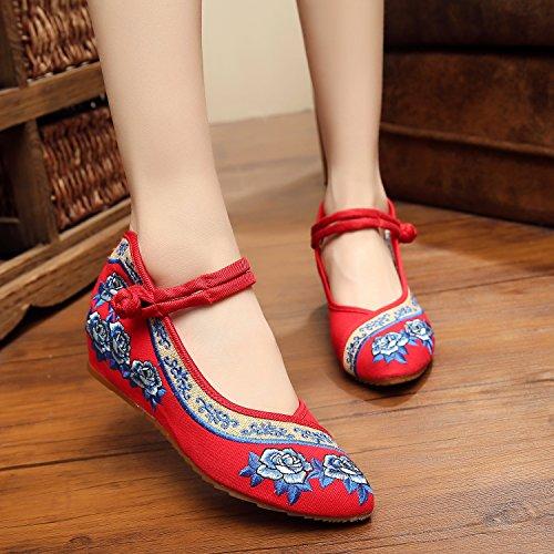 ZLL Gestickte Schuhe, Sehnensohle, ethnischer Stil, weibliche Tuchschuhe, Mode, bequem, lässig innerhalb der Zunahme , red , 36