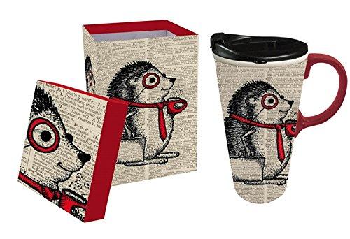 Cypress Home Office Hedgehog Ceramic Travel Coffee Mug, 17 ounces