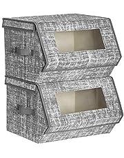SONGMICS opbergdozen, stoffen dozen, met magnetisch scharnierend deksel, stapelbaar, doorzichtig venster, set van 2, metalen frame, voor kleding, speelgoed en boeken, grijs RLB002G02