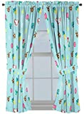 Disney Moana Flower Power Light 63'' Inch Drapes 4 Piece Set - Beautiful Room Décor & Easy Set Up, Bedding Features Pua & HeiHei - Window Curtains Include 2 Panels & 2 Tiebacks (Official Disney Product)