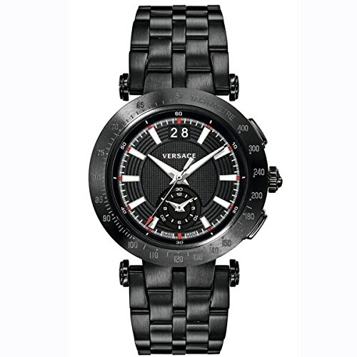Versace Men's 'V-RACE SPORT' Swiss Quartz Stainless Steel Casual Watch, Color:Black (Model: - Versace V