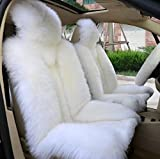 OKAYDA One Piece Genuine Wool Winter Warm Sheepskin Car Seat Cover High Low Wool Luxury Real Fur Car Seat Covers (White)
