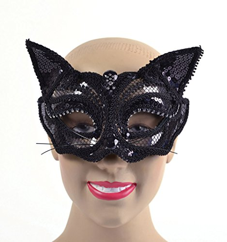 Black Sequin Cat Eye Mask