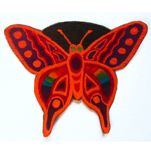 (ImZauberwald red rainbow butterfly patch UV active goa fairy)