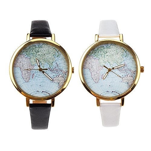 (Fantastic Price Set of 2 Great Quality Vintage Style Ladies Quartz Wrist Watches With White And Black PU Bands, Golden Casings And Globe Patterns Displays By VAGA)