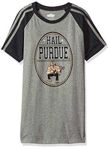 NCAA Boys Raglan Short Sleeve Stripe Tee,Purdue Boilermakers,Black,6