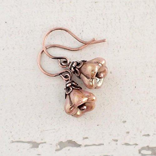 Small Dusty Pink Czech Flower Bead Earrings in Antiqued Copper Color - Vintage Pin Earrings