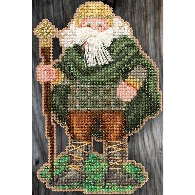 Ireland Santa Beaded Counted Cross Stitch Christmas Ornament Kit Mill Hill 2015 Celtic Santas - Hill Santa