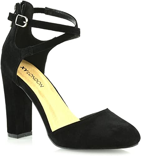UK Women Block Heels Ankle Strap Sandals Ladies Point Toe Work Casual Shoes Size