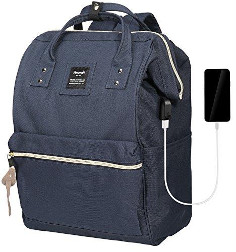 Himawari Travel Backpack With USB Charging Port Large Diaper Bag Doctor Bag School Backpack for Women&Men, College Student Rucksack Fits 13.6 Inch Laptop(USB Blue) by Himawari