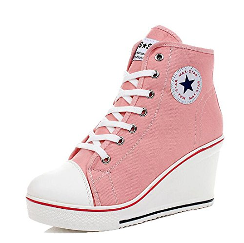 (mewow Womens Girl's Casual Plus Size High Top Wedge Heel Canvas Shoes Fashion Sneaker (8, Pink))