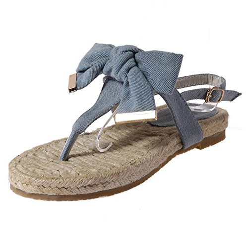 RAZAMAZA Mujer Sandalia Denim Vestido Casual verano Tac¨®n planas Bowknot Azul Azul