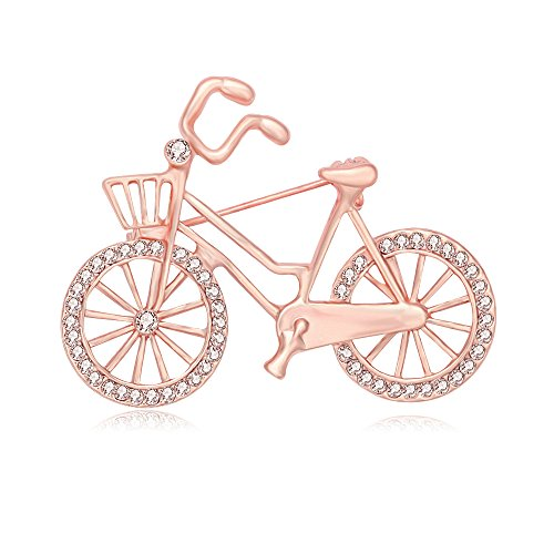Rose Gold Brooch (SENFAI Sports Style Gold Color Bike and Bicycle Brooch for Sportsperson (Rose Gold))