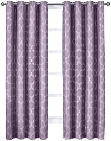 sheetsnthings Alana 108-Inch Wide x 108-Inch Long, Set of 2 Jacquard Thermal Insulated Blackout Curtains, Purple