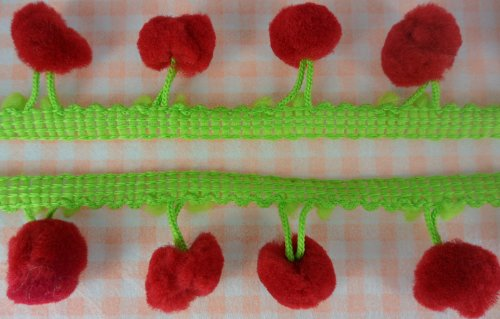 Pillowcase Apron - Red Lime Pompom Ball Lace Fabric Dangle Trim Bedding Pillow Case Sewing 3 Yards