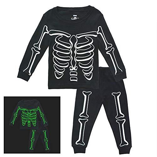 Toddler Boys Skeleton PJs Snug Fit Cotton Halloween Pajamas Set Kids Glow in The Dark Sleepwear, -
