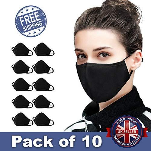 10 PCS Cotton Face Masks Bandana Balaclavas, 2-Layer Unisex Reusable Fashion Washable Mask (Pack 10, Black) – UK SELLER