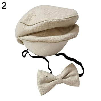 100fe0e3 Amazon.com : Dzsntsmgs Newborn Baby Infant Peaked Beanie Cap Hat Bow Tie Photography  Props Outfit Set - 2# : Beauty
