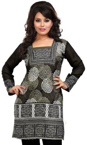 Indian Top Túnica Para Mujer Kurti Impreso Blusa India Ropa Gris