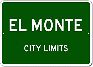 "VinMea Personalized Metal Sign Indoor/Outdoor Wall Decor,El Monte, California - USA City Limits Street Sign - Aluminum 8"" X 12"" Inch, Man Cave Street Sign,"