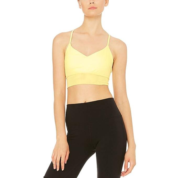 Alo Yoga de la Mujer exuberante Sujetador - Amarillo ...