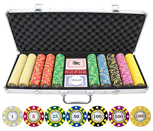 (500 Piece Stripe Suited V2 Clay Poker Chips Set)