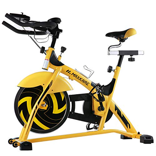 MaxKare Indoor Cycle Bike, Spin Bike Cycling Trainer Exercise Bike w/ 44 lb Flywheel, Belt Drive and LCD Monitor