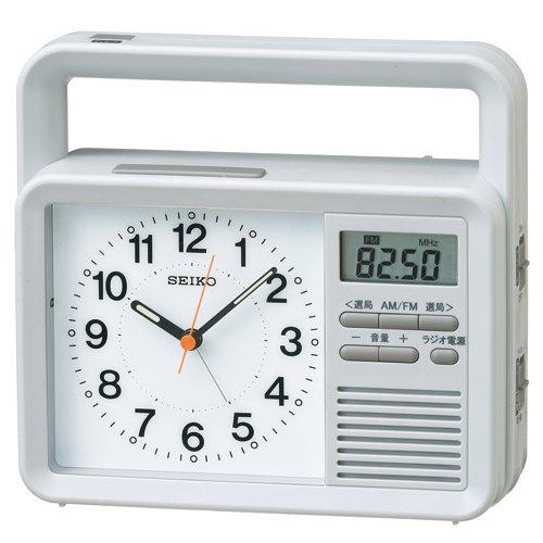 SEIKO CLOCK(セイコークロック) ラジオ 付き 防災 時計 アナログ 手動 発電機付き 目ざまし 時計 グレー KR885N B00EVEX3WS