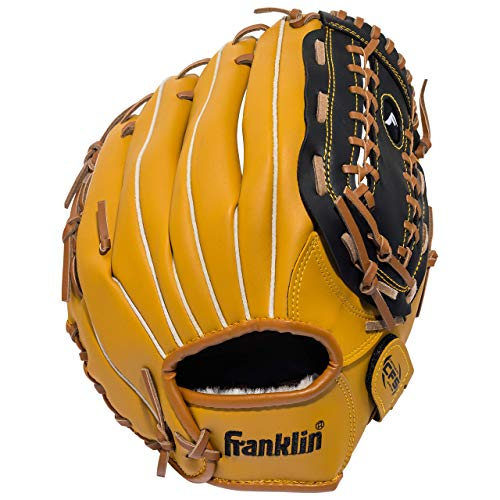 Franklin Sports Baseball Glove - Left and Right Handed Baseball and Softball Fielding Glove - Synthetic Leather Field Master Baseball Glove - 12 Inch Right Hand Throw (Renewed) ()