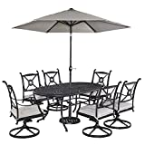 Home Styles 5569-3356 Athens 7 Piece Dining Set Oval Dining Table, Six Swivel Chairs and Umbrella