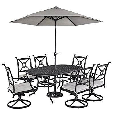 Home Styles 5569-3356 Athens 7 Piece Dining Set Oval Dining Table, Six Swivel Chairs and Umbrella - Cast aluminum Mediterranean style Charcoal finish - patio-furniture, dining-sets-patio-funiture, patio - 51HUa1ddY8L. SS400  -
