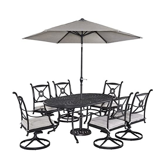 Athens Antique Charcoal Finish 7Piece Dining Set Oval Dining Table, Six Swivel Chairs & Umbrella by Home Styles - Cast aluminum Mediterranean style Charcoal finish - patio-furniture, dining-sets-patio-funiture, patio - 51HUa1ddY8L. SS570  -