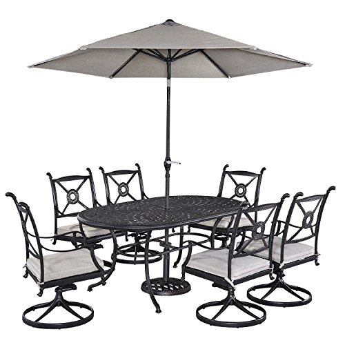 Home Styles 5569-3356 Athens 7 Piece Dining Set Oval Dining Table, Six Swivel Chairs and Umbrella - Oval Aluminum Dining Umbrella Table