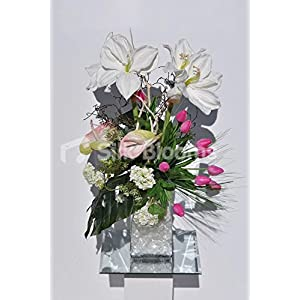 Spring Floral Arrangement w/ White Amaryllis, Anthuriums and Pink Baby Tulips 76