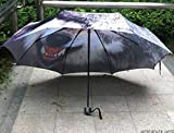 As The Picture Show Women'S Mens Oil Painting Wolf Print Sun/Rain Compact Umbrella