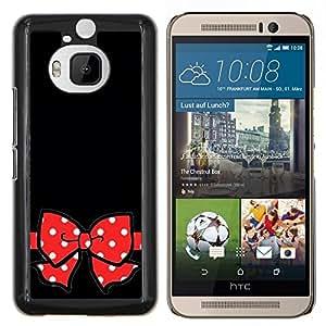 EJOOY---Cubierta de la caja de protección para la piel dura ** HTC One M9Plus M9+ M9 Plus ** --Negro Lunares rojos del regalo Arco