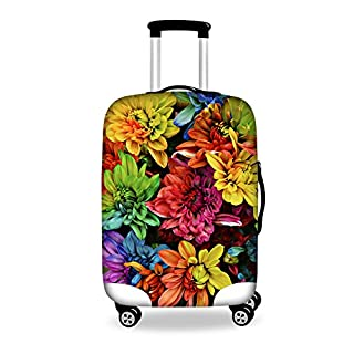 Coloranimal Spandex Travel Baggage Luggage Protector Colorful Flower Print Suitcase Cover Gift L