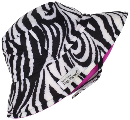 Flap Happy Unisex Baby UPF 50+ Fun In The Sun Hat with Chin Strap, Zebra, Small