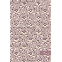 """Notes: 6""""x9"""" Unruled Blank Notebook Elegant Purple Cross Curve Vine Flower Seamless Pattern Cover. Matte Softcover Note Book Journal"""