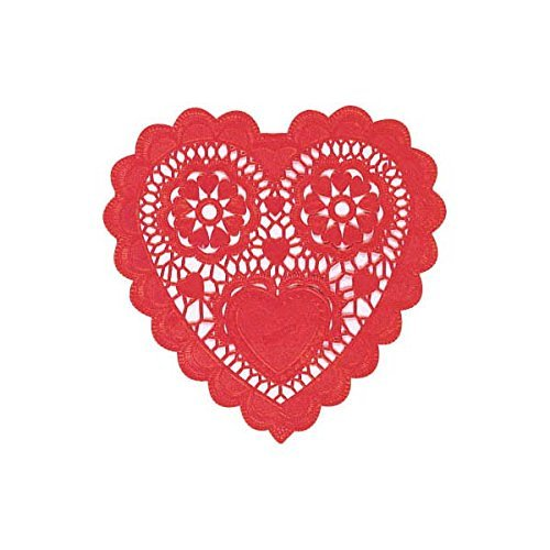 Party Express Valentine 6in Red Heart Paper Doilies, 16 Ct.
