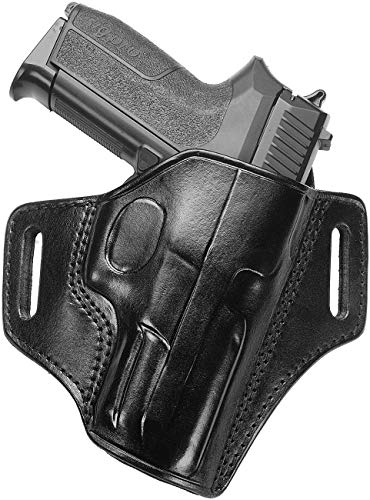 Sig Sauer P320 Compact Compatible Holster - Open Top Leather Pancake Holster - Panther - Old-World Craftsmanship (CH100-BLK)