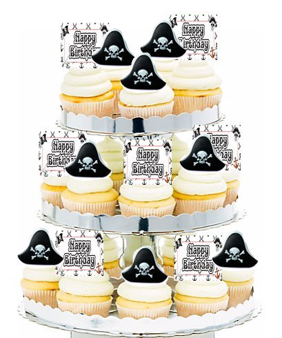 Birthday Party Food / Appetizer /Desert /Cupcake Decoration Toppers (24pack Pirate Theme)