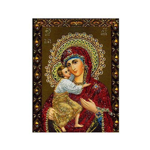 Oksale 12 × 16 Inch, Virgin Mary Painting Canvas + Diamond Full Drilled DIY Cross Stitch Kit (Blue - Frame Sizes Square Michaels