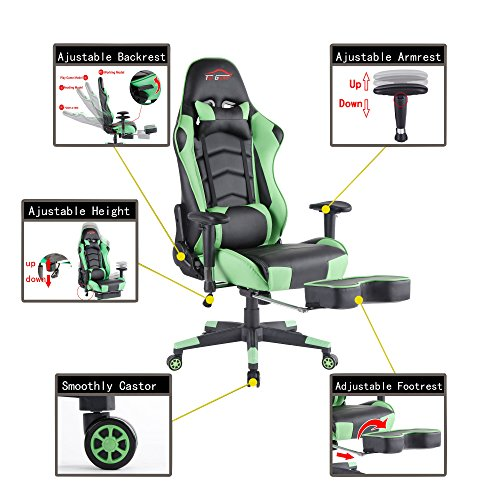 51HUc8%2BZRSL - Top-Gamer-Ergonomic-Gaming-Chair-High-back-Swivel-Computer-Office-Chair-with-Footrest-Adjusting-Headrest-and-Lumbar-Support-Racing-Chair-Green