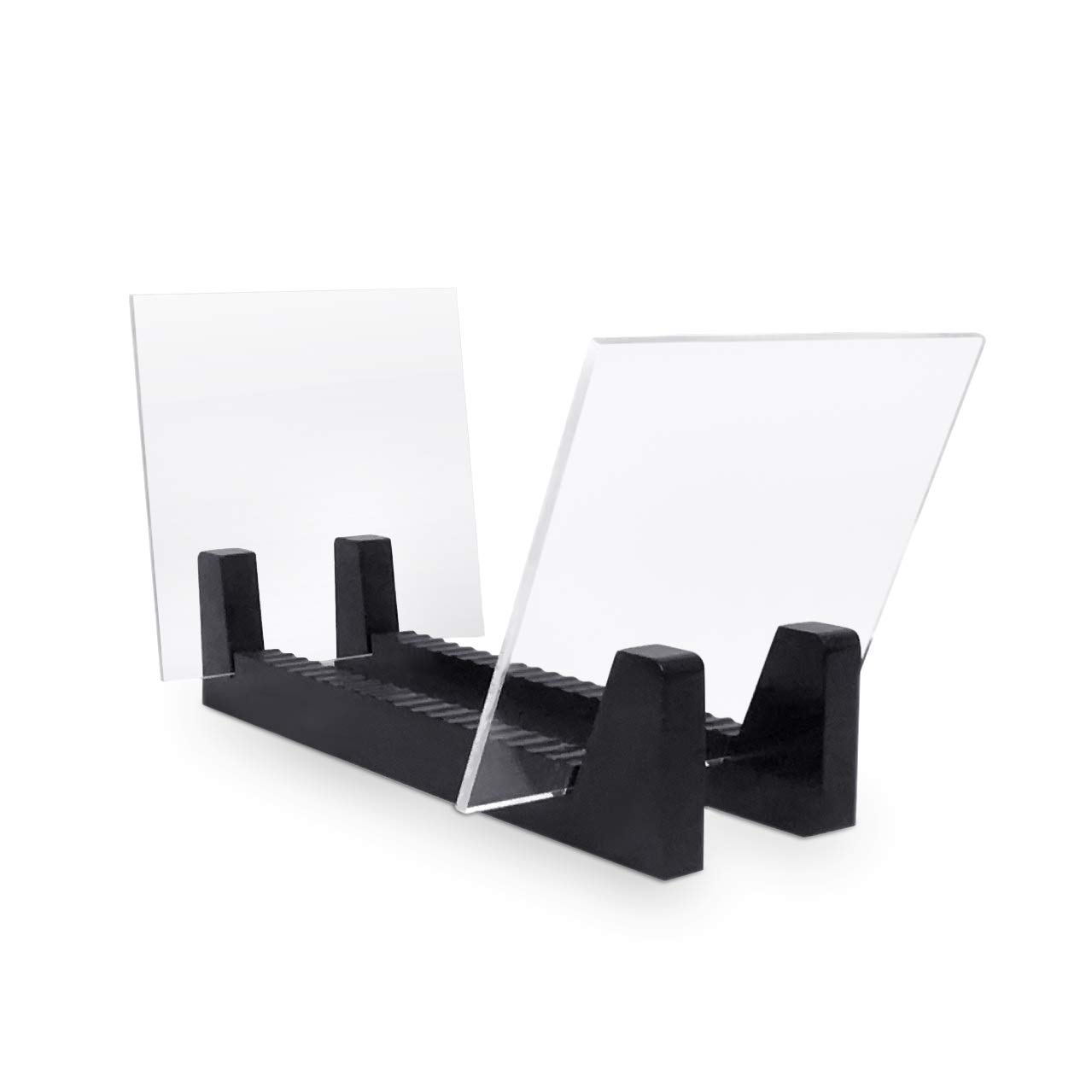 Hudson Hi-Fi Desktop Vinyl Record Album Storage Display Stand and Holder   Cessna Black   Featuring Sustainably Sourced Pine & Flame Polished Acrylic   Holds 50 LP's Record Albums, DVDs, or CDs by Hudson Hi-Fi