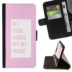Momo Phone Case / Flip Funda de Cuero Case Cover - Off Teléfono Keep Away Pink texto - Sony Xperia M4 Aqua